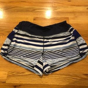 ATHLETA Blue Striped Running Shorts